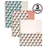 Five Star - Cuaderno de espiral, 1materia, con renglones, 100hojas de papel, 01 Coral, Paquete de 3