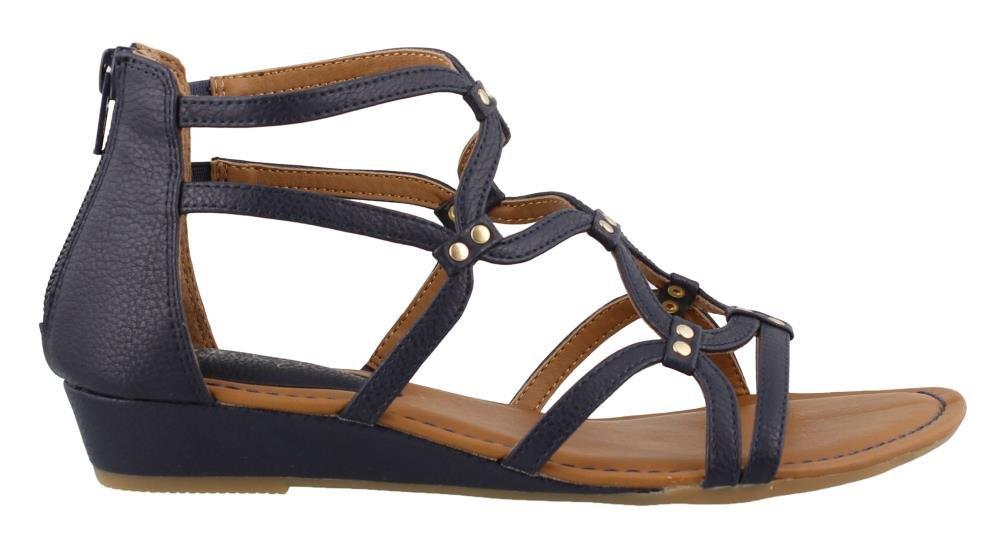 Women's Eurosoft, Mekelle Low Heel Gladiator Style Sandals Navy 7 M