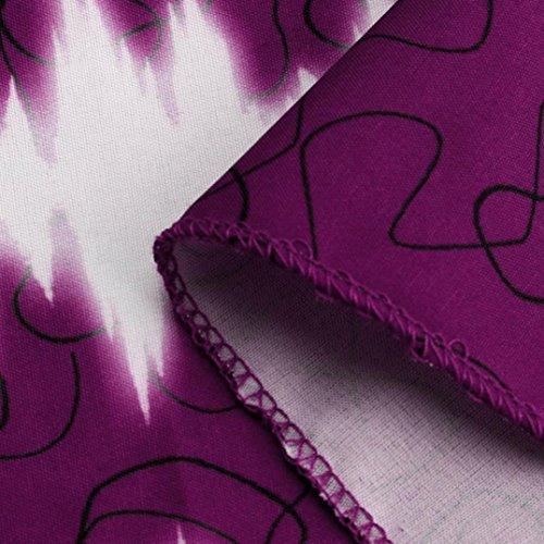 Vovotrade Nuevas mujeres Talla extra Plus Size Cambio de color Encaje Moda Impresión Sin mangas Cuello en V Casual Camiseta Chaleco, Azul / Marrón / Verde / Rosa / Púrpura, Tamaño S~5XL Púrpura