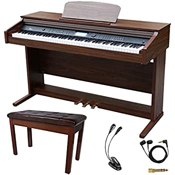 sawtooth 88 key digital console piano with weighted keys and accessories musical. Black Bedroom Furniture Sets. Home Design Ideas