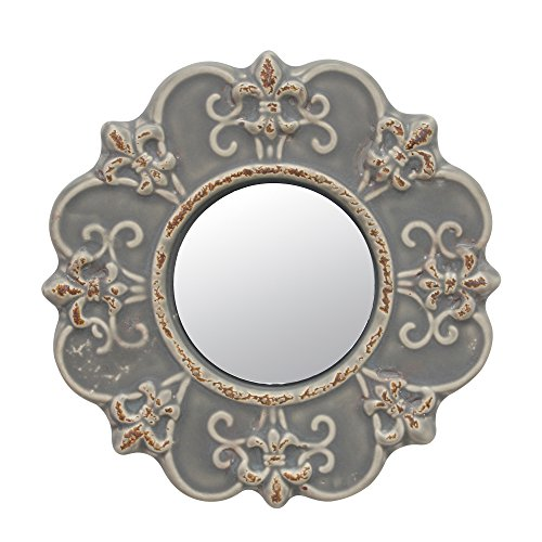 Stonebriar Decorative Round Antique Gray Ceramic Wall Mirror, Vintage Home Décor for Living Room, Kitchen, Bedroom, or Hallway from Stonebriar