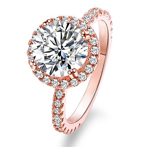 Jiangyue Lady Rings AAA Cubic ZirconiaRose Gold Plated Big White Stone Charming Elegant Party Jewelry Mother 's Day Gift Size 6