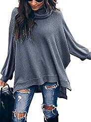 ETCYY Women's Turtleneck Waffle Knit Sweaters Batwing Lantern Sleeve Pullover High Low Hem Side Slit Tunic