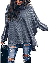 ETCYY Women's Turtleneck Waffle Knit Sweaters Batwing Lantern Sleeve Pullover High Low Hem Side Slit Tunic Jumper Tops