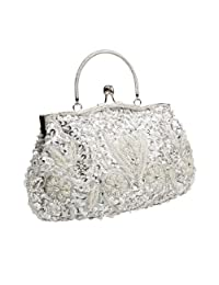 BMC Beaded Sequin Design Metal Frame Kissing Lock Satin Interior Evening Clutch