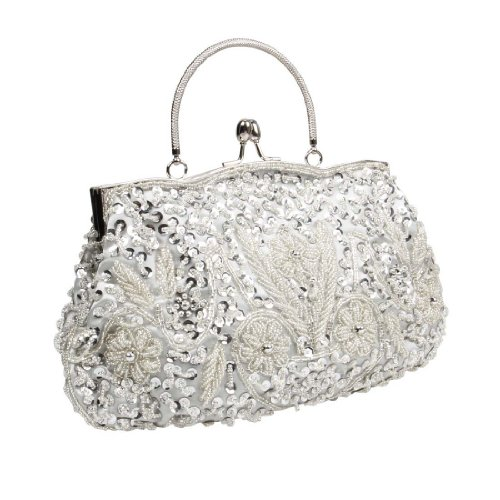 BMC Silver Beaded Sequin Design Metal Frame Kissing Lock Satin Clasp Interior Evening Clutch - Exuding Eloquence Collection ()