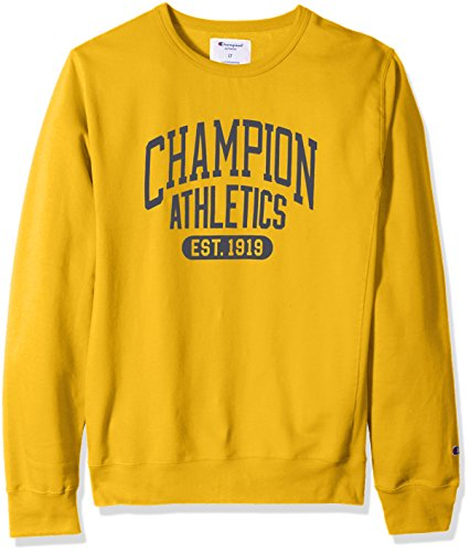 Champion Gold Crew Sweatshirt (Champion Men's Big and Tall Fleece LS Crew With Screen Print, Gold, 2X)