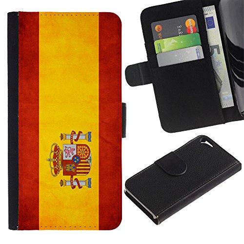 LASTONE PHONE CASE / Luxe Cuir Portefeuille Housse Fente pour Carte Coque Flip Étui de Protection pour Apple Iphone 5 / 5S / National Flag Nation Country Spain
