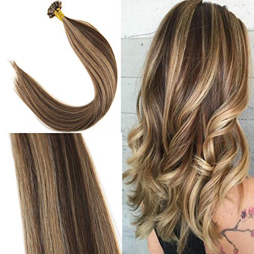 (Youngsee 16inch Flat Tip Hair Extensions Dark Brown with Caramel Blonde Piano Color 1g/s 50 Strands Pre Bonded Keratin Remy Fusion Human Hair)