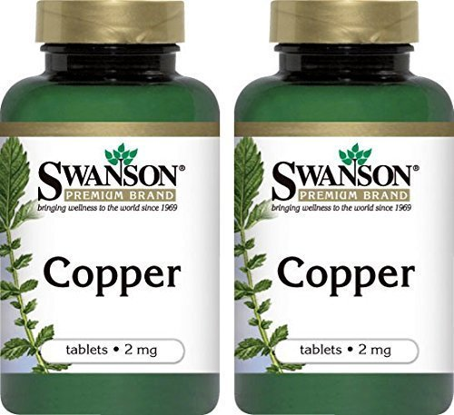 Swanson Premium Copper Mineral Supplement 2mg -- 300 Tablets (2 Bottles each of)