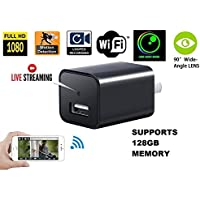 1080P Wifi Charger Hidden Spy Camera – DENT Products HD P2P Wireless Wifi Video Camcorder with Motion Detection, USB AC Wall Plug Adapter for IOS iPhone Android APP Remote View, support 128G SD