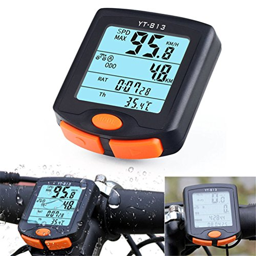 YOUNGFLY Bicycle Speedometer Odometer Temperature Display(Fahrenheit/Celsius) Wireless Data Transmission Waterproof Multi Function Bike Cycle Wired Computer with Digital LCD Display by YOUNGFLY