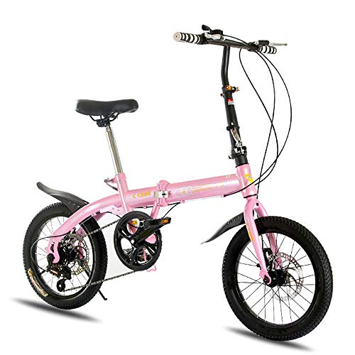 ZXCTTBD Lightweight Folding Bike,7-Speed 16-Inch,Featuring Front and Rear Fenders,Youth Folding Bicycle with Double Disc Brake Great for City Riding and Commuting