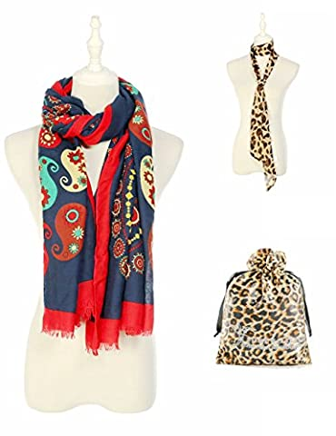 Floral Chiffon Scarf Gift Set,Soft Lightweight Scarves with Leopard Skinny Scarf for Women