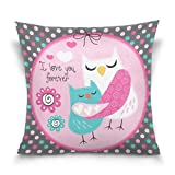 Chen Miranda Double Sided Square Pillowcase Owl Love Forever Illustration Cotton Velvet Throw Pillow Cushion Case Cover 16'' x 16'' Invisible Zipper Home Decor for Couch Sofa Car No Pillow Insert