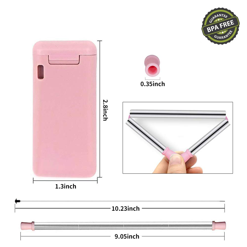 Composed of 304 Stainless Steel and Food-Grade Silicone for Home Outdoor by KORSMALL Reusable Foldable Drinking Straw with Case /& Cleaning Brush Metal Collapsible Straw Pink