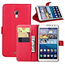 Premium Leather Wallet Case Cover with Stand Card Holder for Huawei Ascend Mate 2 4G (Wallet - Red)