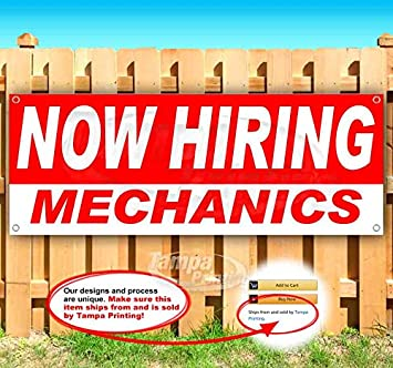 Many Sizes Available Advertising Store Flag, New Now Hiring Mechanics 13 oz Heavy Duty Vinyl Banner Sign with Metal Grommets