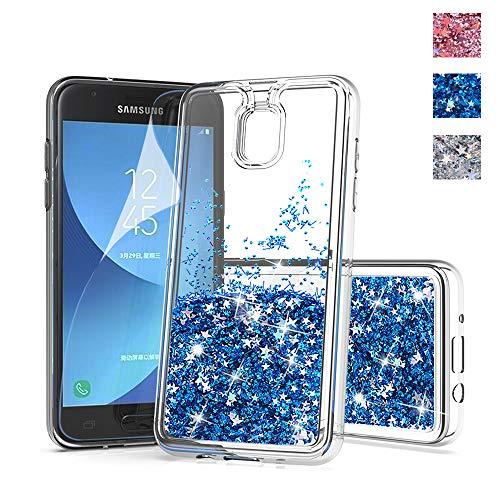 for Samsung Galaxy J3 Achieve Glitter case,J3 Star Phone case,Express Prime 3/J3 2018 case,DDTKZC Sparkle The Liquid TPU is Clear Slim Fit Case Samsung amp Prime 3 (HD Blue)