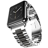 U191U Band Compatible with Apple Watch 42mm Stainless Steel Wristband Metal Buckle Clasp iWatch Strap Replacement Bracelet for Apple Watch Series 3/2/1 Sports Edition (Silver/Black, 42MM)