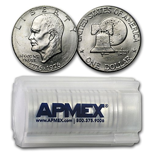 1976 D Clad Eisenhower Dollars 20-Coin Roll BU (Type-2) Dollar Brilliant Uncirculated