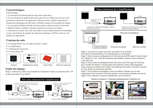 Antena de TV Interior Portátil, TELEV Antena Interior HDTV de Rango Amplificado de 80 KM / 50 Millas con Desmontable Amplificador de Señal y Amplificador ...