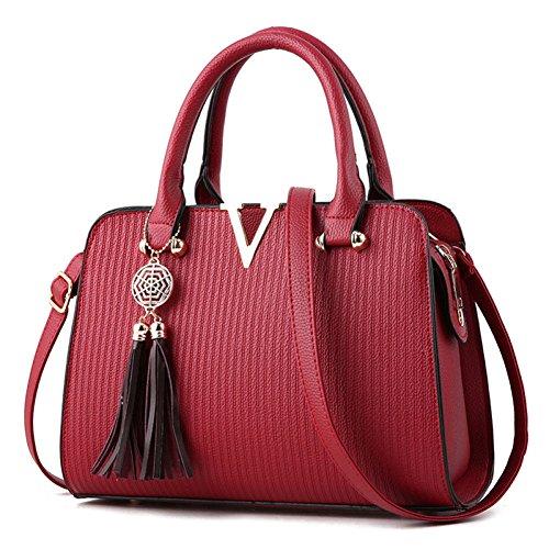 Bag Bags Bag Shopping Bag Bag Tote Leather Women's Women Shoulder Handbag Women Clutches Shoulder Bags Handbags Burgundy Fashion pxfwqHUwn