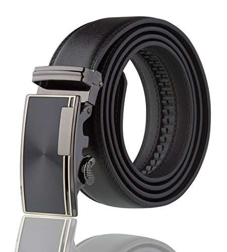 Mens Gift Belt Buckle (Men's Imperial Ratchet Leather Dress Belt (Silver Buckle W/ Black Leather))