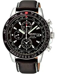 Seiko SSC009P3 Stainless Steel Solar Flight Quartz Alarm Chronograph Black Men Seiko SSC009P3