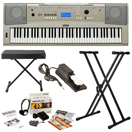 Yamaha YPG-235 76-Key Portable Piano w/ Knox Stand & Bench ,Sustain Pedal and Survivalkit (Includes Power Supply and 2 Year Warranty)
