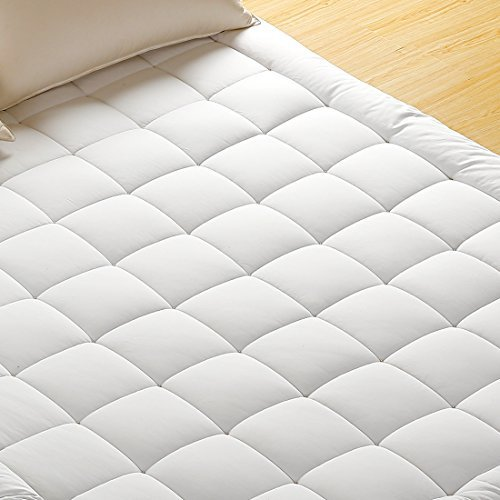 Mattress Pad Cover, 100% Cotton Fabric, Microfiber Filled, Soft, Hypoallergenic, Mattress Topper with Deep Pocket(Queen,Basic)