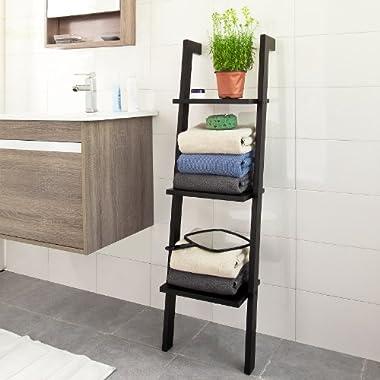 SoBuy Modern Wood Leaning Ladder Book / Magazine Shelf with Three Floors, Stand Rack, Wall Shelf,29 x23x121cm FRG32-Sch,Black
