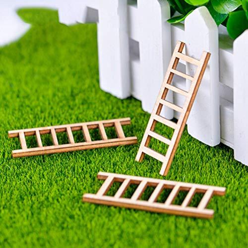ZAMTAC 6pcs Mini Wooden Step Ladder Furniture Tools Fairy Garden Miniatures Decor Action Figurine DIY Micro Gnome Terrarium Gift