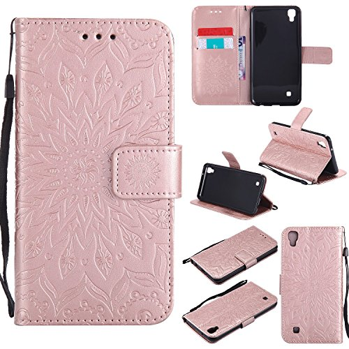 - Ostop Leather Wallet Case for LG X Power, Embossed Magnetic Flip Cover Holster with Credit Card Slot,Wrist Strap and Stand Feature,Sunflower-Rose Gold