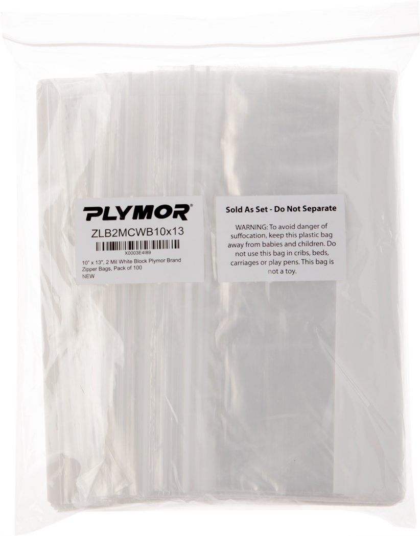 Plymor 10'' x 13'', 2 Mil (Pack of 100) Zipper Reclosable Plastic Bags w/White Block