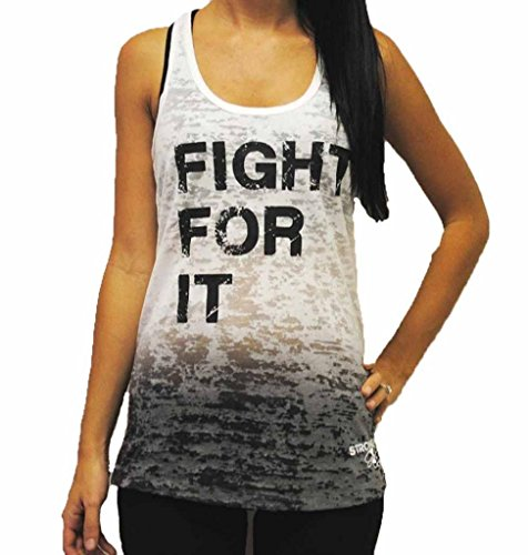 Strong Girl Clothing Women's Fight For It Burnout Tank Top M Black/White