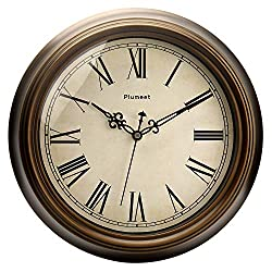 Plumeet Large Retro Wall Clock, 13'' Non Ticking Classic Silent Clocks Decorative Living Room, Battery Operated (Roman Numerals)