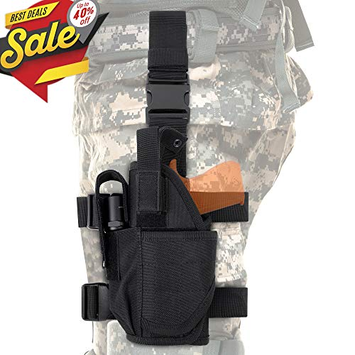 CS Force Tactical Drop Leg Holster, Adjustable Gun Holster Thigh Pistol Holster with Magazine Pouches for Left Handed, Black