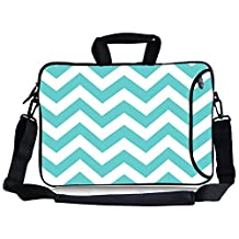 "Kitron(TM) 17""17.3-Inch Turquoise Mint Green Chevron Waterproof Neoprene Laptop Sleeve Case Bag+Soft Mouse Pad"