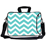 "Kitron(TM) 16 17""-17.3-Inch Turquoise Mint Green Chevron Water Resistant Neoprene Sleeve Notebook Neoprene Messenger Case Tote Bag with Handle and Carrying Strap"