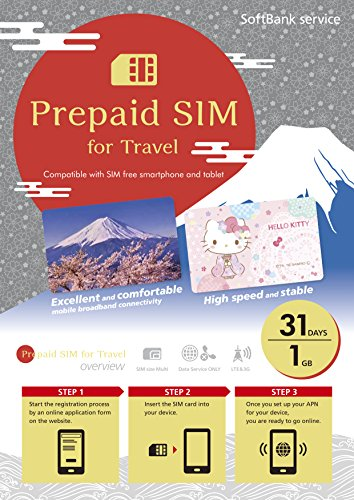 Japan Pay as you go SIM Data 1GB 4G LTE SIM size Multi 31Days SoftBank  Prepaid SIM for Travel