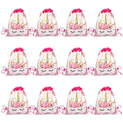 - Unicorn Party Bags - Drawstring Party Favor Bags for Kids Birthday Fantasy - 12 Pack White