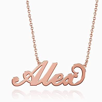 1625d201b SOUFEEL Alex Name Necklaces Pendant Stainless Steel Rose Gold Custom  Necklace Personalized Nameplate Gifts for Women