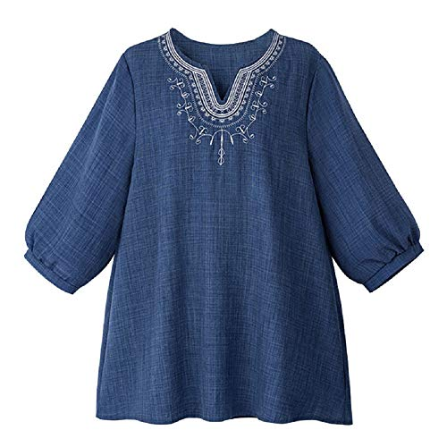 en pour T Manches col en Shirt Courtes FuweiEncore XL color T V Bleu Shirt Vrac Bleu Taille Femmes XPpwSqxq
