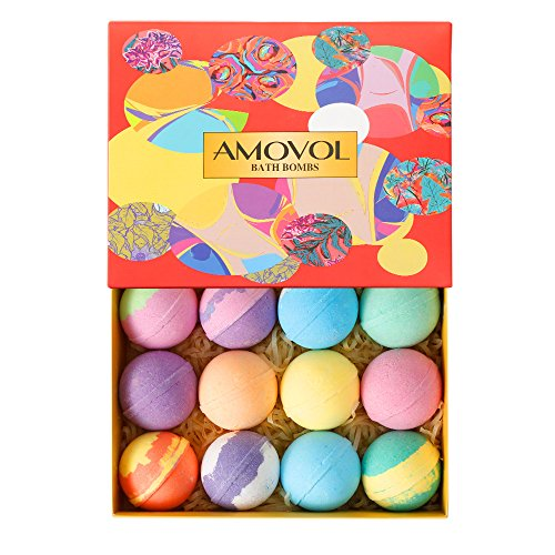 Bath Bombs Gift Set, 2.5 OZ Each Colorful Bath Bomb Kit with Essential oils, Lush Spa Floating Fizzies, Rich Bubbles, Powerful Moisturize and No Greasy, Gift for Women & Kids Pack of 12