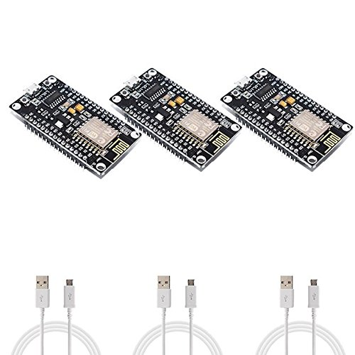 Price comparison product image 3 Pack - NodeMCU v3 ESP8266 SoC IoT LoLin ESP-12E WiFi Development Boards with Micro USB Cables - Lua Arduino MicroPython - New Version - Three (3pcs)