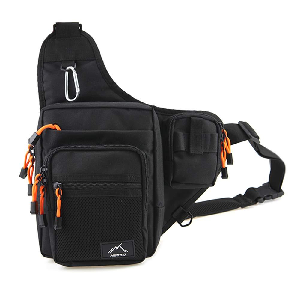HETTO Fishing Sling Bags Fly Fishing Waist Bag Mens Fishing Lure Bag Waterproof 1000D Nylon Small Chest Pack Shoulder Bag for Outdoor Fishing Tackle Bag Weihai Letu CO. LTD