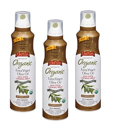 Pompeian Organic Extra Virgin Olive Oil Cook Spray, 5.0 FL OZ (Pack of 3) by Pompeian