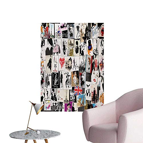 Anzhutwelve Girls Wallpaper Collage with Freehand Drawings Artistic Portraits of Woman Faces Abstract ImageBlack White Red W32 xL48 Art Poster ()