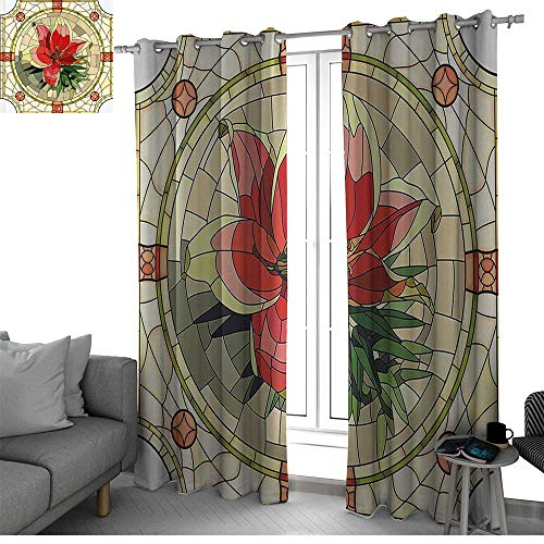 Floral Window Treatments Draperies for Bedroom Vector Antique Glass Image Flower Lily Like Design with Leaves and Buds Artwork Small Window Curtain Multicolor W96 x L108 Inch